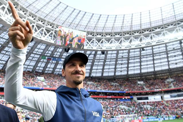 Swedish football player Zlatan Ibrahimovic gestures before the Russia 2018 World Cup Group F football match between Germany and Mexico at the Luzhniki Stadium in Moscow on June 17, 2018. (Getty Images)