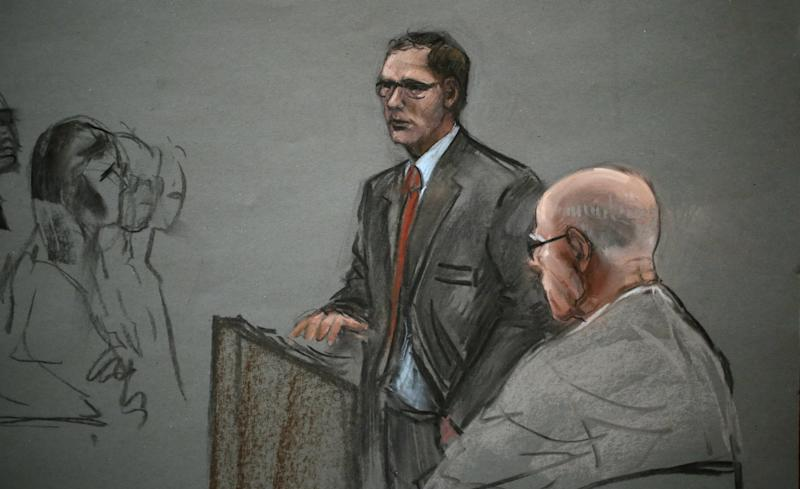 "In this courtroom sketch, James ""Whitey"" Bulger, right, listens to his attorney, Hank Brennan, during closing arguments at U.S. District Court, in Boston, Monday, Aug. 5, 2013. Bulger's lawyers used their closing arguments to go after three gangsters who took the stand against the reputed Boston crime boss, portraying them as pathological liars whose testimony was bought and paid for by prosecutors. (AP Photo/Jane Flavell Collins)"