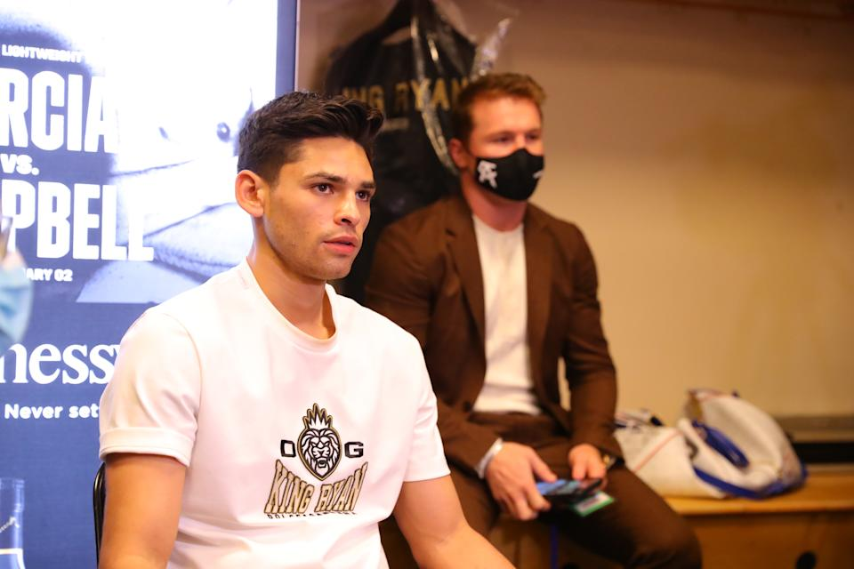 DALLAS, TEXAS - JANUARY 02: Saul Canelo Alvarez supports Ryan Garcia in the locker room before Garcia's fight against Luke Campbell at American Airlines Center on January 02, 2021 in Dallas, Texas. (Photo by Tom Hogan/Golden Boy Promotions via Getty Images)