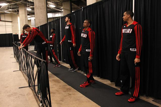 SAN ANTONIO, TX - MAY 6: Members of the Portland Trail Blazers wait in the tunnel before they enter the court to play the San Antonio Spurs in Game One of the Western Conference Semifinals during the 2014 NBA Playoffs at the AT&T Center on May 6, 2014 in San Antonio, Texas. NOTE TO USER: User expressly acknowledges and agrees that, by downloading and/or using this photograph, user is consenting to the terms and conditions of the Getty Images License Agreement. (Photo by Chris Covatta/Getty Images)