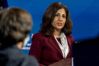 FILE - In this Dec. 1, 2020, file photo President-elect Joe Biden's nominee to serve as Director of the Office of Management and Budget Neera Tanden speaks at The Queen theater in Wilmington, Del. (AP Photo/Andrew Harnik, File)