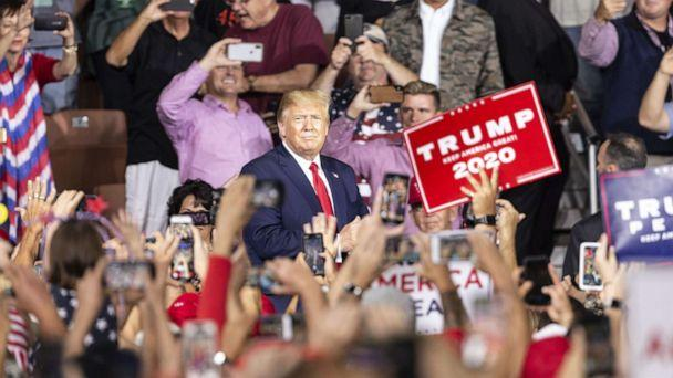 PHOTO: President Donald Trump greets supporters during campaign MAGA (Make America Great Again) rally at Southern New Hampshire University Arena, in Manchester, N.H. on Aug. 15, 2019. (Anadolu Agency via Getty Images, FILE)