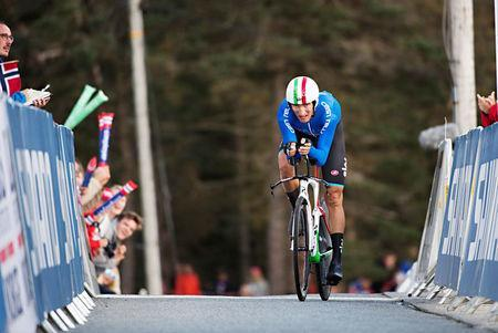 FILE PHOTO - Cycling - UCI Road World Championships - Men Elite Individual Time Trial - Bergen, Norway - September 20, 2017 - Gianni Moscon of Italy competes. NTB Scanpix/Marit Hommedal via REUTERS