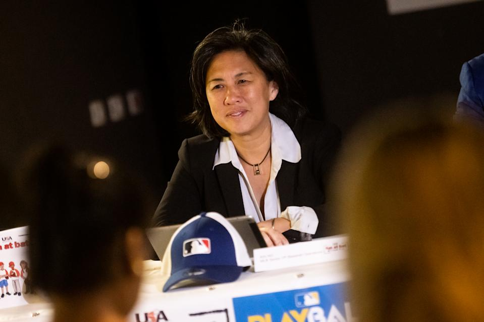 Kim Ng, seen here at a conference in Brazil in February, has been qualified for a GM role for years. (Photo by Marcelo Maragni/MLB Photos via Getty Images)