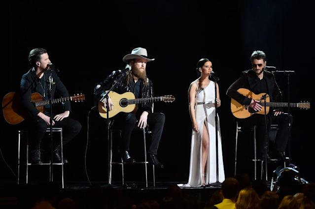 <p>T.J. Osborne and John Osborne of Brothers Osborne, along with Maren Morris and Eric Church perform onstage during the 60th Annual Grammy Awards at Madison Square Garden on January 28, 2018, in New York City. (Photo: Getty Images) </p>
