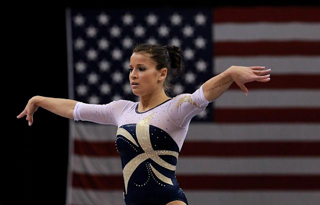 ST PAUL, MN - AUGUST 18: Alicia Sacramone competes on the floor during the Senior Women's competition on day two of the Visa Gymnastics Championships at Xcel Energy Center on August 18, 2011 in St Paul, Minnesota. (Photo by Ronald Martinez/Getty Images)