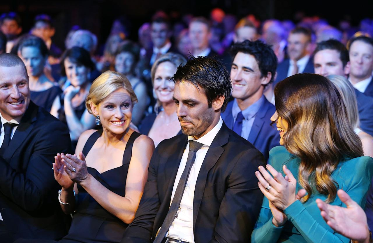 SYDNEY, AUSTRALIA - JANUARY 20:  Mitchell Johnson is applauded after being announced he won the Allan Border Medal during the 2014 Allan Border Medal at Doltone House on January 20, 2014 in Sydney,  (Photo by Mark Metcalfe/Getty Images)