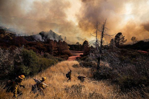 PHOTO: Firefighters with the Marin County Fire Department begin to dig a containment line ahead of the Kincade Fire, in the Geysers, a geothermal field in California on Friday, Oct. 25, 2019. (Max Whittaker/The New York Times/Redux)