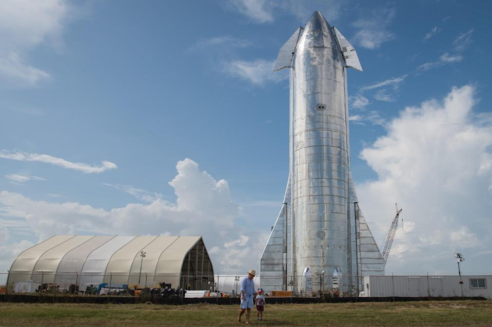 A prototype of SpaceX's Starship spacecraft is seen at the company's Texas launch facility on 28 September, 2019 in Boca Chica near Brownsville, Texas (Getty Images)