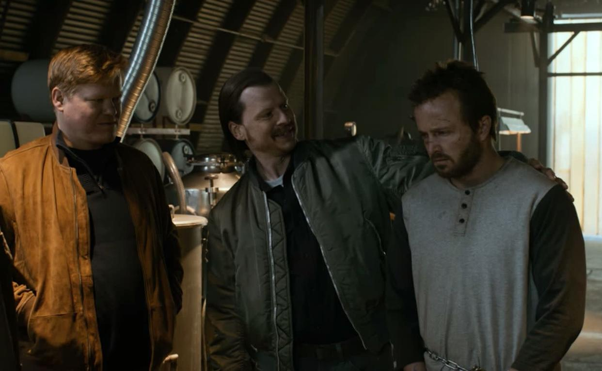 """Todd is the standout supporting star of """"El Camino."""" He sings along to """"Sharing The Night Together"""" as he drives with a dead body in his truck bed. He's mesmerized by a welder's mask while Kenny (Kevin Rankin) discusses whether Jesse's chain leash is strong enough to hold him in their meth lab. He gets overly excited about Campbell's bean and bacon soup. <br><br>Even though Plemons looks very different all these years later, time and time again, his character delivers the weirdest and most messed up moments of the movie."""