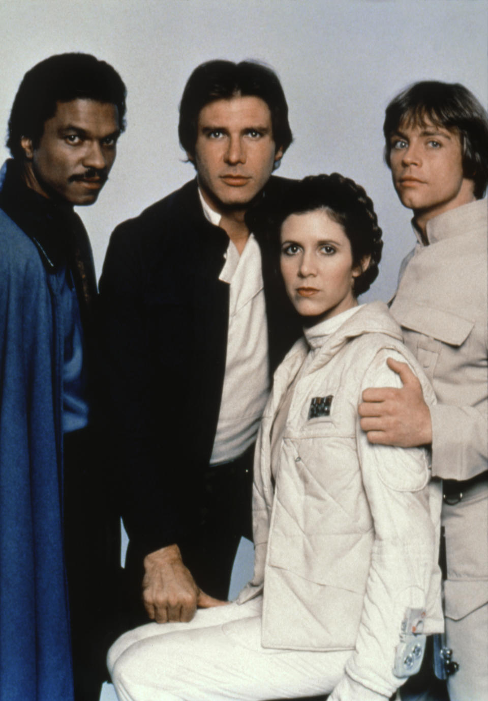American actors Billy Dee Williams, Harrison Ford, Carrie Fisher and Mark Hamill on the set of Star Wars: Episode V - The Empire Strikes Back directed by Irvin Kershner. (Photo by Lucasfilm/Sunset Boulevard/Corbis via Getty Images)