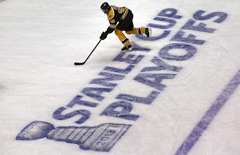 Boston Bruins right wing Jaromir Jagr skates during a warm up prior to facing the Toronto Maple Leafs in Game 7 of their NHL hockey Stanley Cup playoff series in Boston, Monday, May 13, 2013. (AP Photo/Charles Krupa)