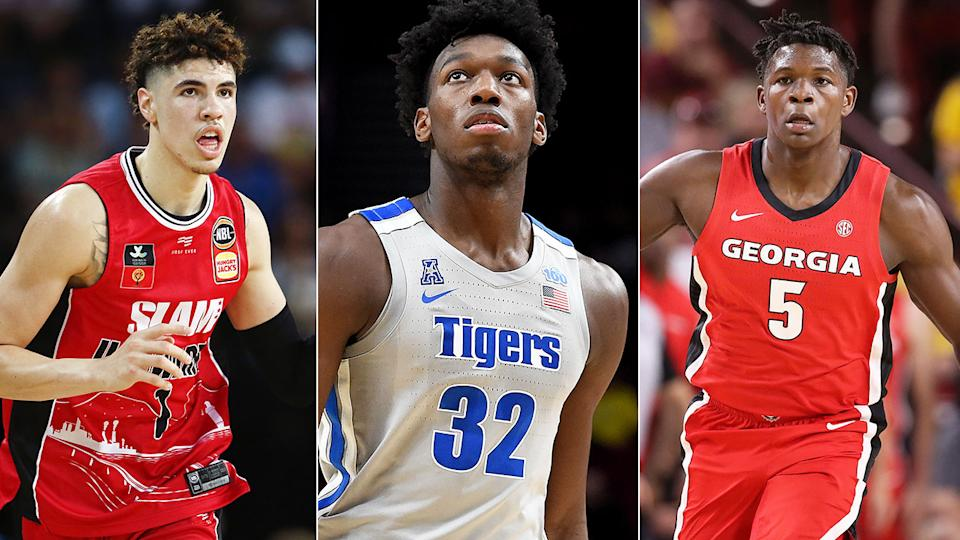 Pictured here, the top three players from the 2020 NBA Draft.