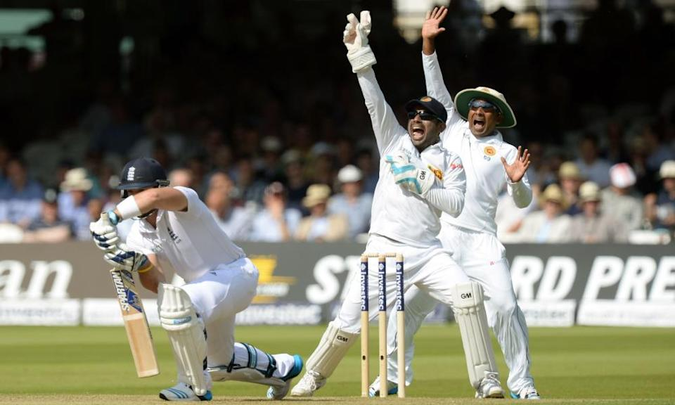 Sri Lanka's Kumar Sangakkara (centre) appeals for the wicket of Matt Prior at Lord's in 2014. The Test was drawn but the visitors won their first series in England that summer.