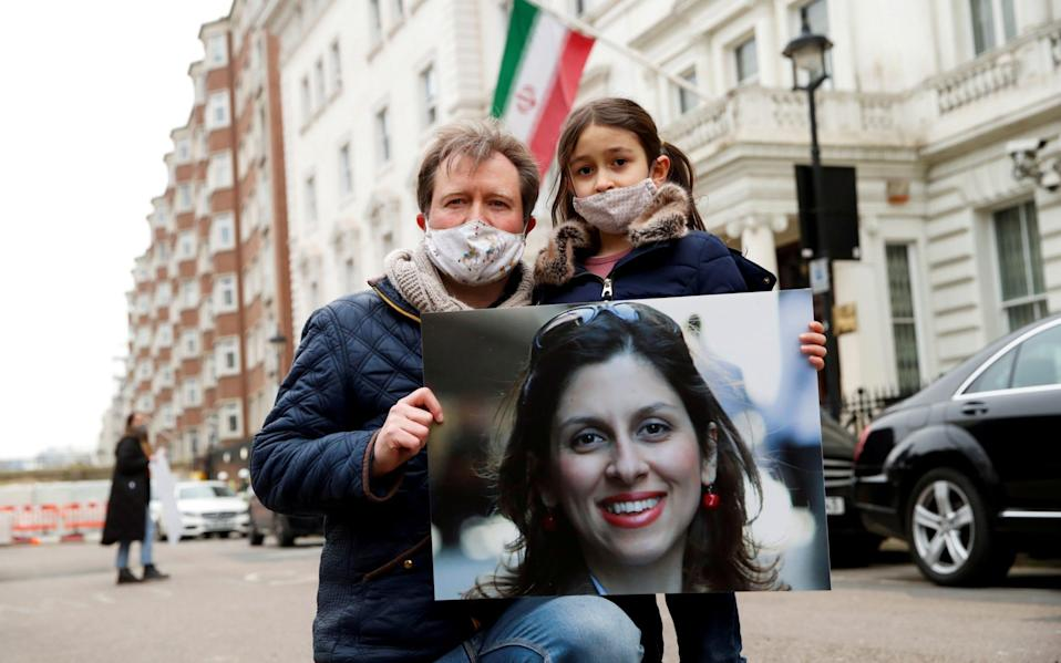 Richard Ratcliffe protests outside Iranian Embassy in London - Reuters
