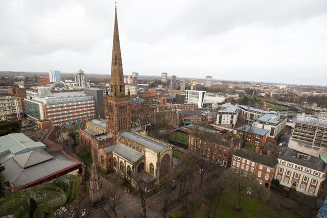 The view from atop Coventry Cathedral