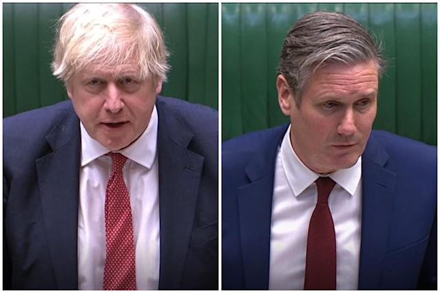 Boris Johnson and Sir Keir Starmer clashed in the Commons on Monday. (PA)