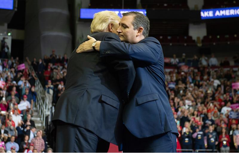 Trump and Cruz embraced at a rally in Houston on Monday and appeared to move past their regular attacks against one another. (Photo: SAUL LOEB via Getty Images)
