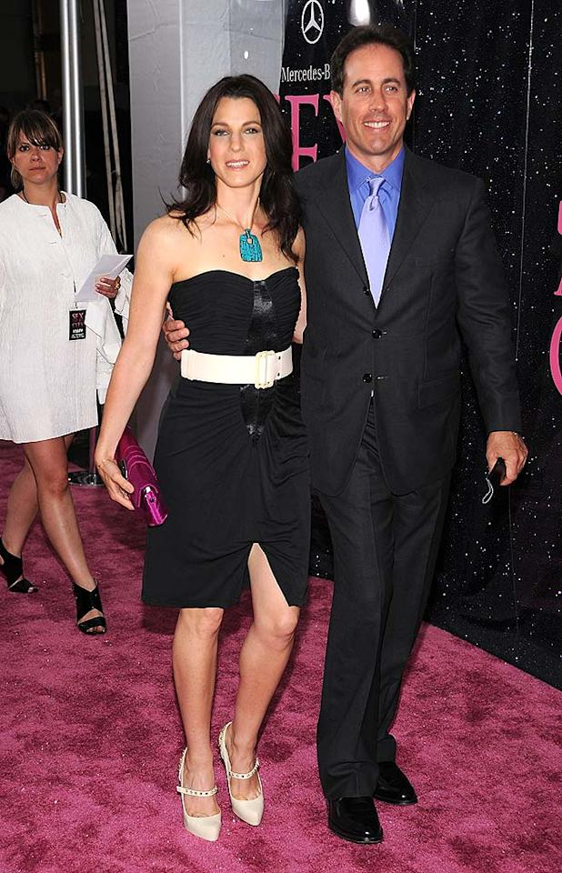 "Jerry Seinfeld looked handsome in a dark suit, while his wife Jessica dared to show some leg. Dimitrios Kambouris/<a href=""http://www.wireimage.com"" target=""new"">WireImage.com</a> - May 27, 2008"