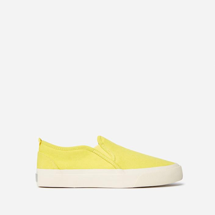 """<p><strong>everlane</strong></p><p>everlane.com</p><p><strong>$60.00</strong></p><p><a href=""""https://go.redirectingat.com?id=74968X1596630&url=https%3A%2F%2Fwww.everlane.com%2Fproducts%2Fmens-forever-slip-on-sneaker-citrus&sref=https%3A%2F%2Fwww.menshealth.com%2Fstyle%2Fg20087309%2Fmens-slip-on-shoes-summer%2F"""" rel=""""nofollow noopener"""" target=""""_blank"""" data-ylk=""""slk:BUY IT HERE"""" class=""""link rapid-noclick-resp"""">BUY IT HERE</a></p><p>Everlane has been upping its shoe collection and it's about time to reap the rewards. These slip-ons come in a few neutral and fun (like yellow!) colors. Wear them with navy chinos or your favorite summer shorts.</p>"""
