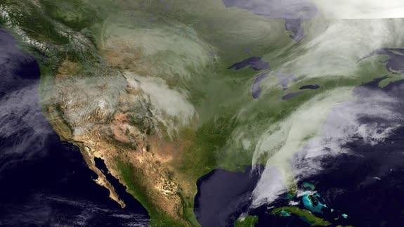 The GOES-East satellite snapped this image on Feb. 12, 2014 as a winter storm pummeled the Southeast.