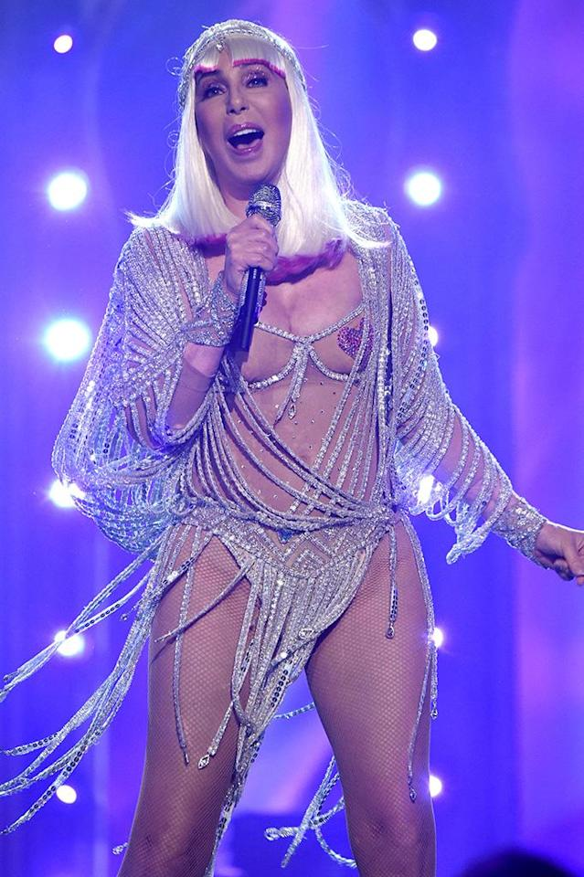 <p>Billboard Music Awards honoree Cher sounded great and looked amazing in two racy outfits for her first awards show performance in 15 years. (Photo: Kevin Mazur/BBMA2017/Getty Images for dcp) </p>