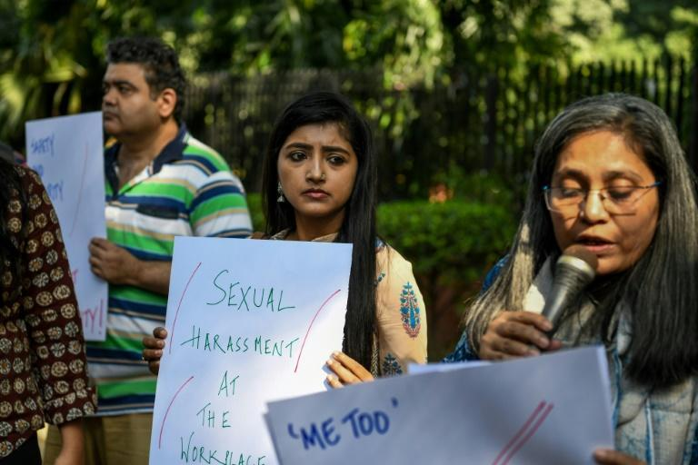 Indian journalists protested against sexual harassment in the media industry in New Delhi in October 2018, as the country's #MeToo movement engulfed several big-name personalities