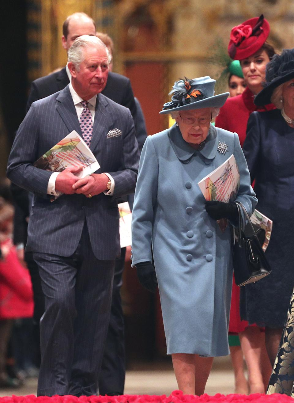 Queen Elizabeth II and the Prince of Wales leaving after the Commonwealth Service at Westminster Abbey, London on Commonwealth Day. The service is the Duke and Duchess of Sussex's final official engagement before they quit royal life. (Photo by Yui Mok/PA Images via Getty Images)