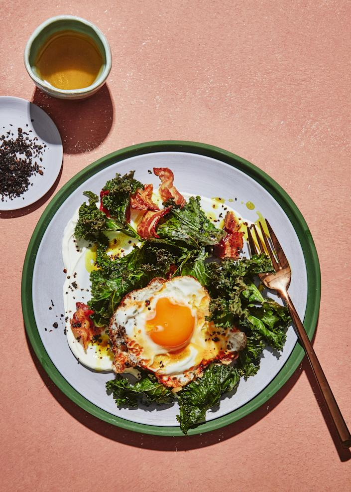 """<a href=""""https://www.bonappetit.com/recipe/turmeric-eggs-with-kale-yogurt-and-bacon?mbid=synd_yahoo_rss"""" rel=""""nofollow noopener"""" target=""""_blank"""" data-ylk=""""slk:See recipe."""" class=""""link rapid-noclick-resp"""">See recipe.</a>"""