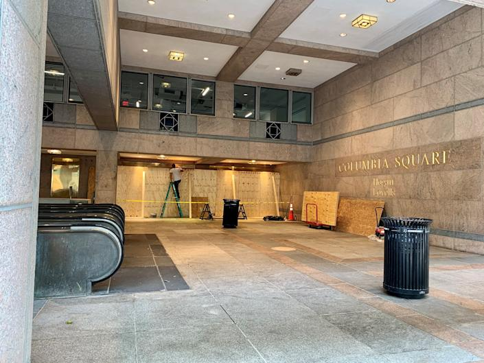 The DowntownDC Business Improvement District said it was aware of at least12 properties around the White House and in the Chinatown area that were being boarded up as Oct. 29.