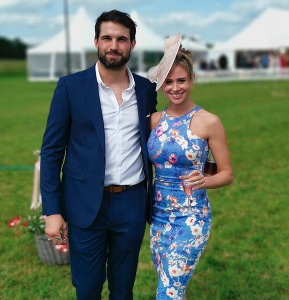 Camilla Thurlow and Jamie Hewitt at a wedding