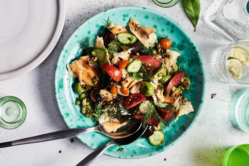 """We love Halloumi's squeaky texture, but some torn salted mozzarella would be just as good (just don't try grilling it). <a href=""""https://www.epicurious.com/recipes/food/views/grilled-fattoush-with-halloumi-and-eggplant?mbid=synd_yahoo_rss"""" rel=""""nofollow noopener"""" target=""""_blank"""" data-ylk=""""slk:See recipe."""" class=""""link rapid-noclick-resp"""">See recipe.</a>"""