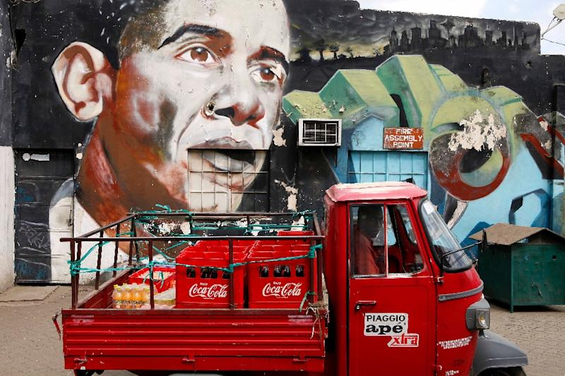 A mural by artists Bankslave and Swift at the Go Down Art Centre in Nairobi on July 15, 2015 (AFP Photo/Till Muellenmeister)