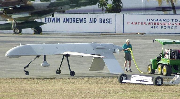 A US drone used for surveillance sits on the tarmac at Edwin Andrews Airbase in the Philippines on March 14, 2002