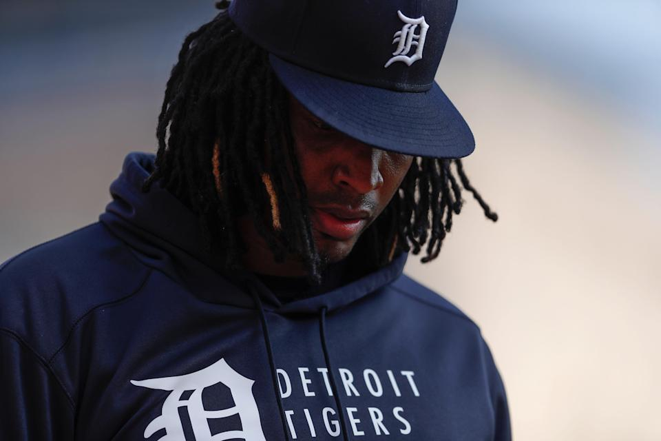 Detroit Tigers starting pitcher Jose Urena (62) walks to the dugout with his head down before the game Aug. 28, 2021 against the Toronto Blue Jays at Comerica Park.