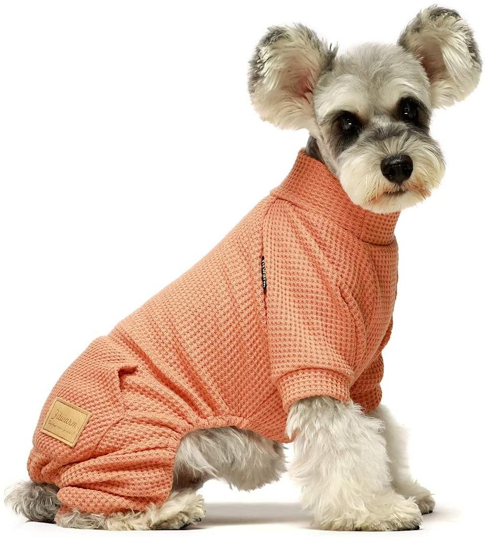"""<h2><a href=""""https://www.amazon.com/Fitwarm-Turtleneck-Thermal-Clothes-Jumpsuits"""" rel=""""nofollow noopener"""" target=""""_blank"""" data-ylk=""""slk:Amazon Thermal Dog Pajamas"""" class=""""link rapid-noclick-resp"""">Amazon Thermal Dog Pajamas</a></h2><br>Like those of us still working from home, dogs can also wear their pajamas all day. This thermal outfit has me dreaming of a <em>matching</em> thermal balaclava now. Too much?<br><br><strong>Amazon, Fitwarm</strong> Thermal Turtleneck for Dogs, $, available at <a href=""""https://www.amazon.com/Fitwarm-Turtleneck-Thermal-Clothes-Jumpsuits"""" rel=""""nofollow noopener"""" target=""""_blank"""" data-ylk=""""slk:Amazon"""" class=""""link rapid-noclick-resp"""">Amazon</a>"""