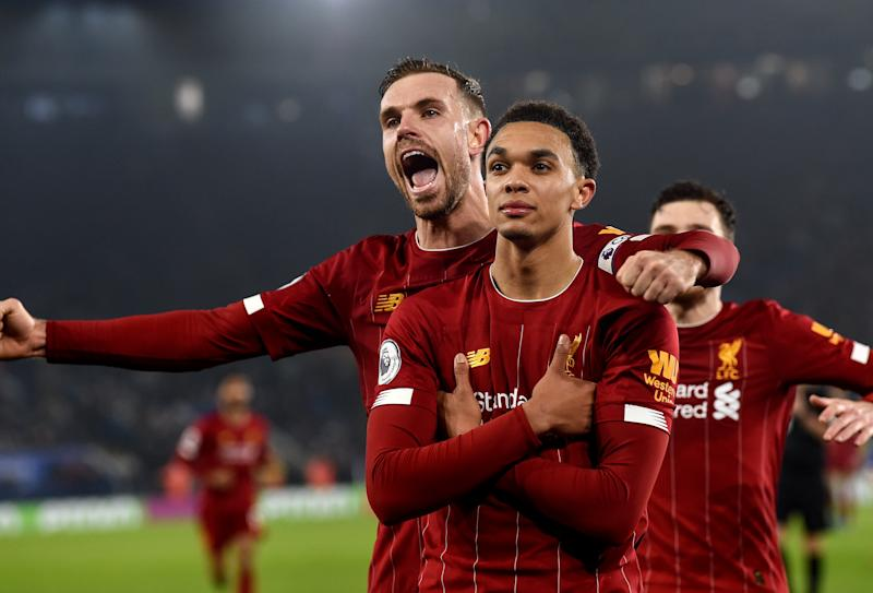 LEICESTER, ENGLAND - DECEMBER 26: (THE SUN OUT, THE SUN ON SUNDAY OUT) Trent Alexander- Arnold of Liverpool scores and celebrates his goal during the Premier League match between Leicester City and Liverpool FC at The King Power Stadium on December 26, 2019 in Leicester, United Kingdom. (Photo by John Powell/Liverpool FC via Getty Images)