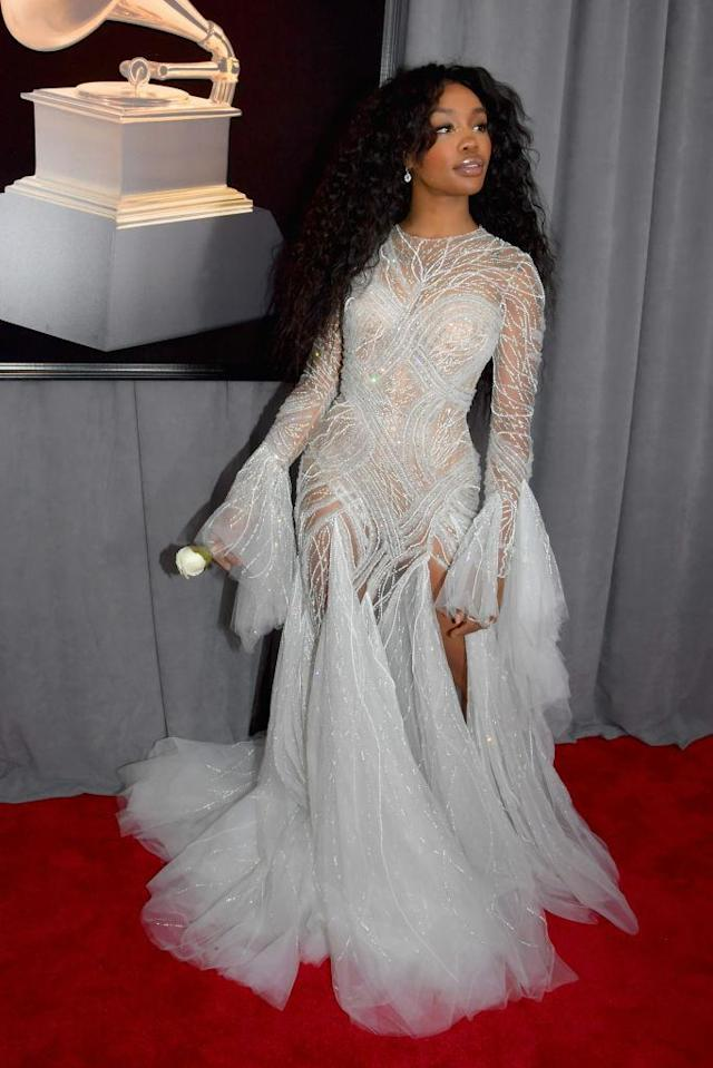 <p>SZA attends the 60th annual Grammy Awards in New York on January 28, 2018. (Photo: John Shearer/Getty Images) </p>