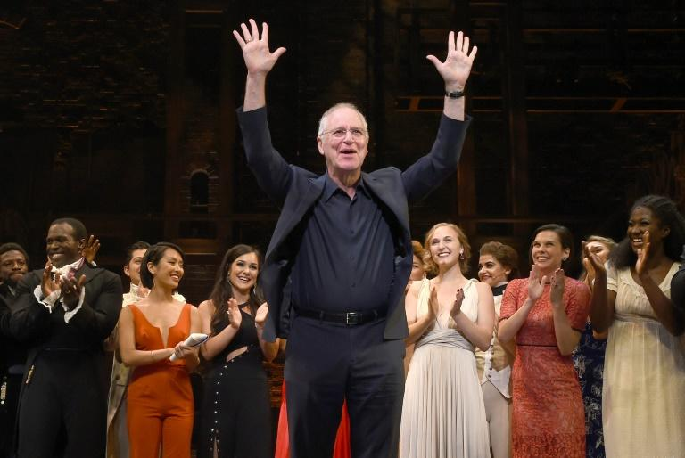"""Historian Ron Chernow, invited to be the speaker at next year's White House correspondents' dinner, is shown at the opening night curtain call for """"Hamilton"""" in Los Angeles in August 2017 -- his biography inspired Lin-Manuel Miranda to write the show"""