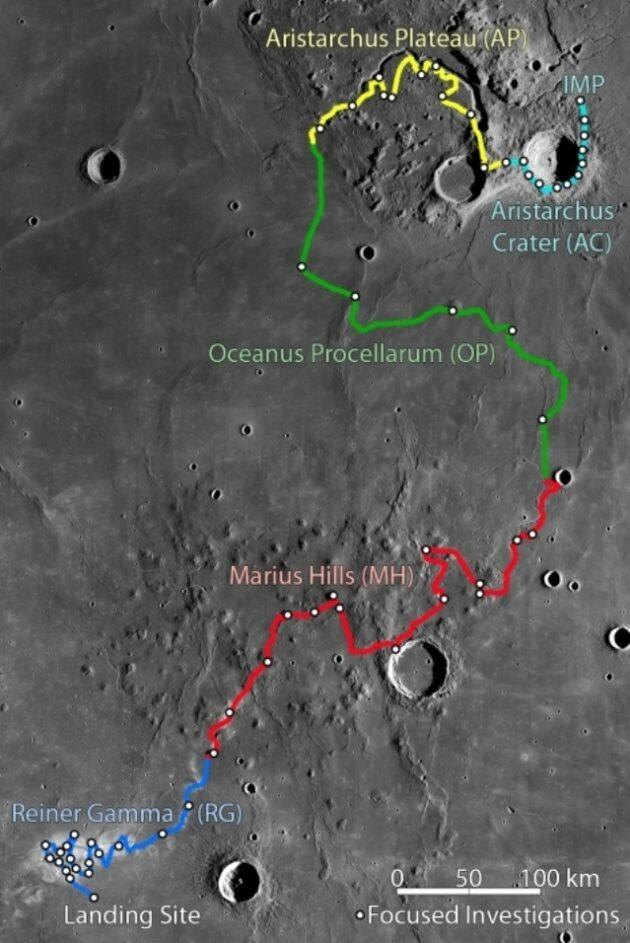 This map traces the proposed route for the Intrepid moon rover. (ASU Graphic)