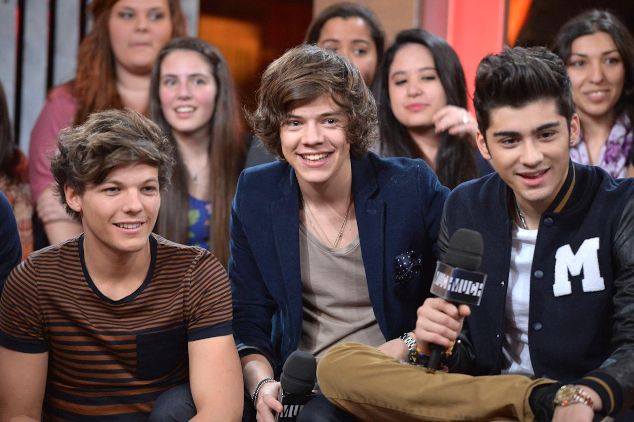 TORONTO, ON - MARCH 26:  Louis Tomlinson, Harry Styles and Zayn Mali from One Direction Visit MuchMusic on March 26, 2012 in Toronto, Canada.  (Photo by George Pimentel/Getty Images)