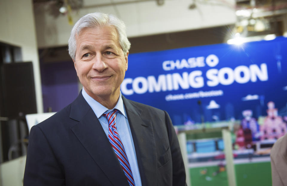 IMAGE DISTRIBUTED FOR FOR JPMORGAN CHASE & CO. - Jamie Dimon, Chairman & CEO of JPMorgan Chase & Co., visits Chase's first retail branch in downtown Boston, expected to open in January of 2019, Wednesday, Dec. 12, 2018. (Gretchen Ertl/AP Images for JPMorgan Chase & Co.)