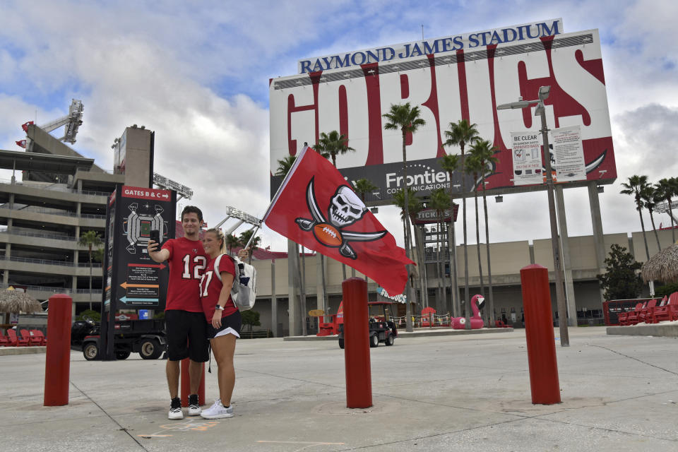 The Tampa Bay Buccaneers will be the first team to play a Super Bowl in its home stadium. (AP Photo/Jason Behnken)