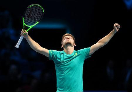 Tennis - ATP World Tour Finals - The O2 Arena, London, Britain - November 13, 2017 Belgium's David Goffin celebrates winning his group stage match against Spain's Rafael Nadal REUTERS/Hannah McKay