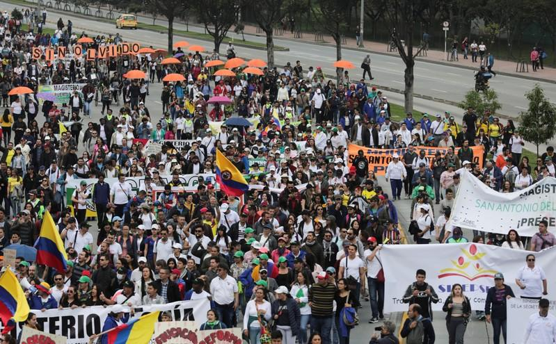 Protest for a national strike in Bogota