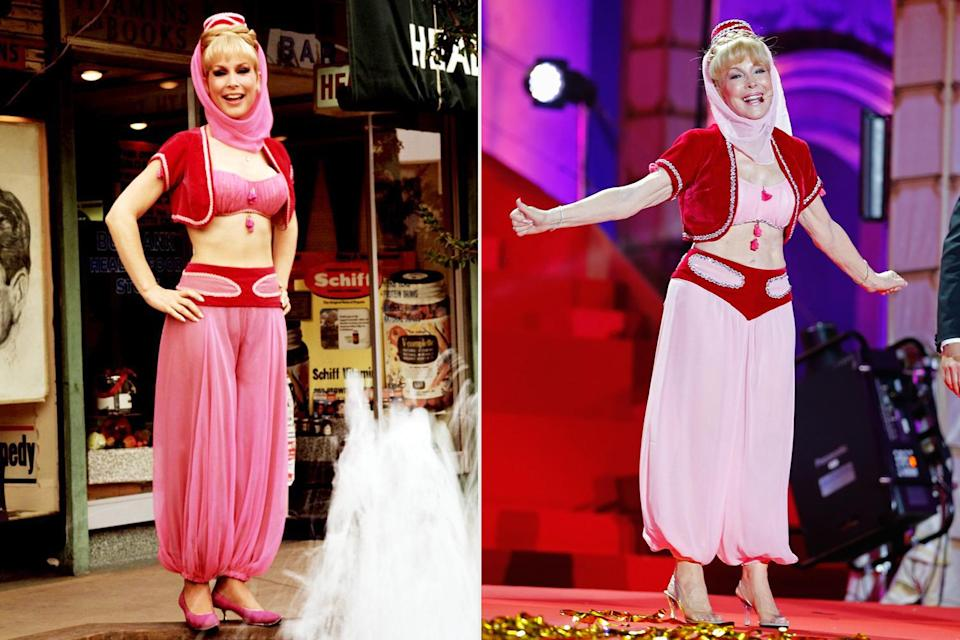 """<p>Barbara Eden was a dream in an iconic Jeannie costume at the Life Ball in Vienna, Austria over forty years after the show aired.</p> <p>According to the actress, the midriff-baring outfit hadn't been altered in decades, either. """"The costume was made for a Lexus commercial I did, about 10 years after the show went off the air,"""" Eden told <a href=""""https://people.com/bodies/babara-eden-reveals-how-she-remains-in-jeannie-costume-shape/"""" rel=""""nofollow noopener"""" target=""""_blank"""" data-ylk=""""slk:PEOPLE."""" class=""""link rapid-noclick-resp"""">PEOPLE.</a> </p> <p>""""It has to have been at least 30 years,"""" she said of the last time she slipped it on.</p>"""