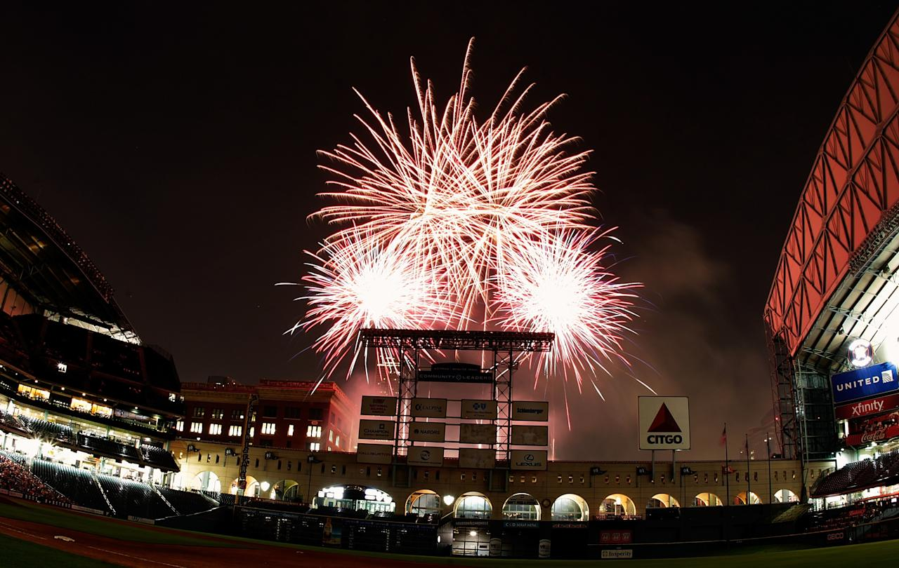 HOUSTON - MAY 24:  Friday Night Fireworks after the Oakland Athletics defeated the Houston Astros 6-5 at Minute Maid Park on May 24, 2013 in Houston, Texas.  (Photo by Bob Levey/Getty Images)