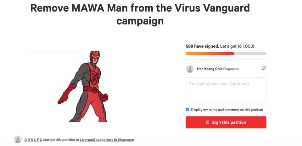 The Change.org petition to remove MAWA Man from the Virus Vanguard campaign. (PHOTO: Screenshot/Change.org)
