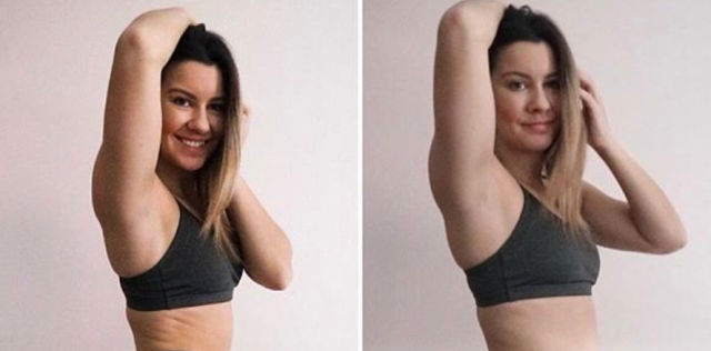 Stacey Lee in two of her side-by-side Instagram photos. (Photo: psychandsquats via Instagram)