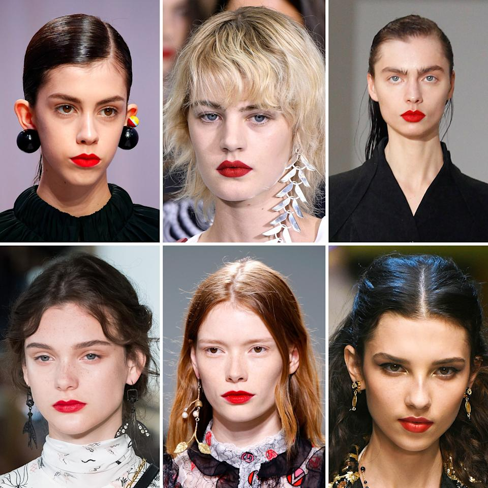 <p>Crimson lipstick with a matte finish took over models's lips during spring 2017 fashion month—a color and finish that has an instant skin-brightening effect. Marco de Vincenzo, Mary Katrantzou, Olivier Theyskens, Valentino, Giambattista Valli, and Dolce & Gabbana—seen in order above—are just half of the dozen matte red lips we saw, all of which were paired with fresh, dewy skin and neatly groomed brows.</p>